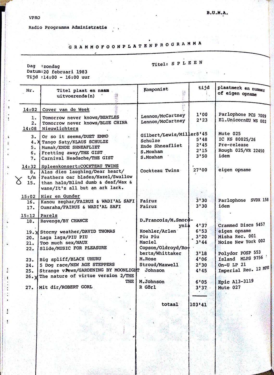 playlist 20 februari 1983