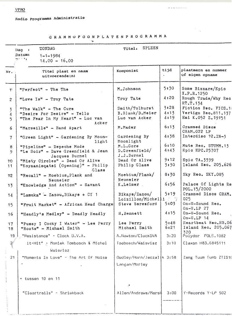 spleen 1 januari 1984
