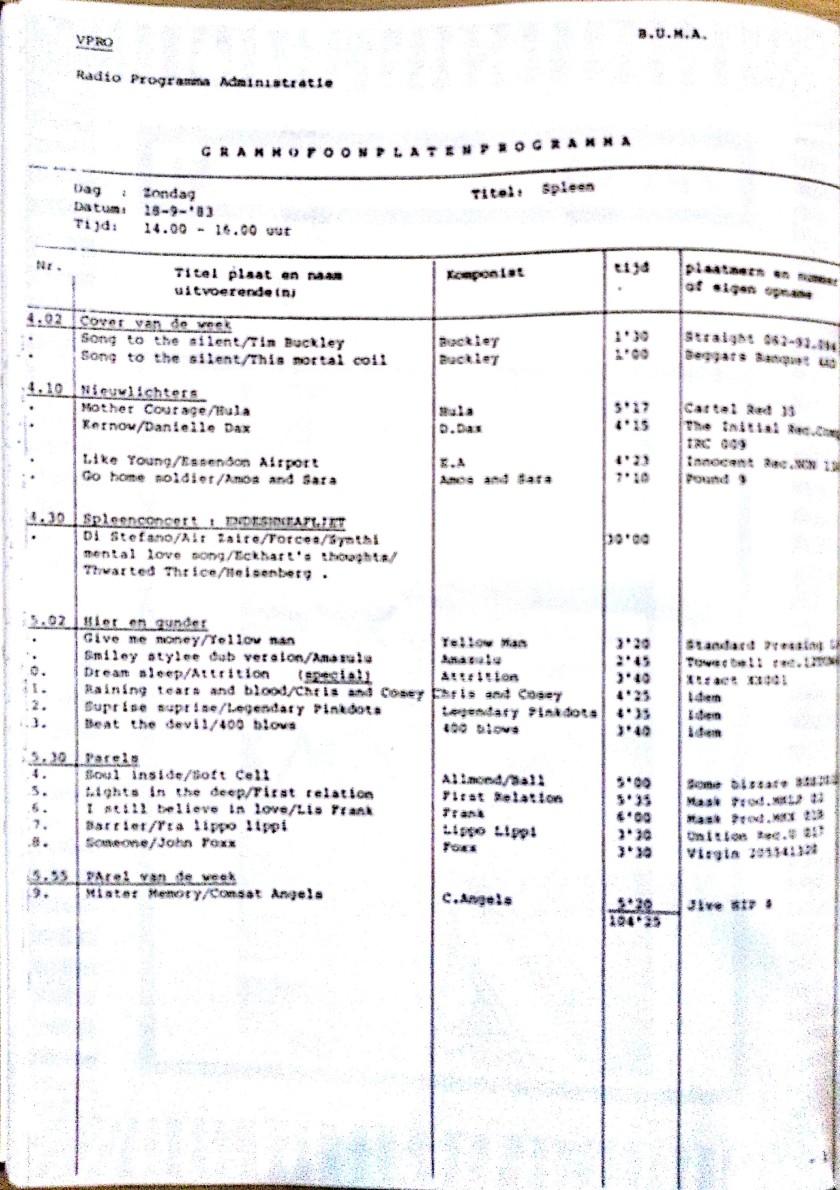 SPLEEN 18 September 1983