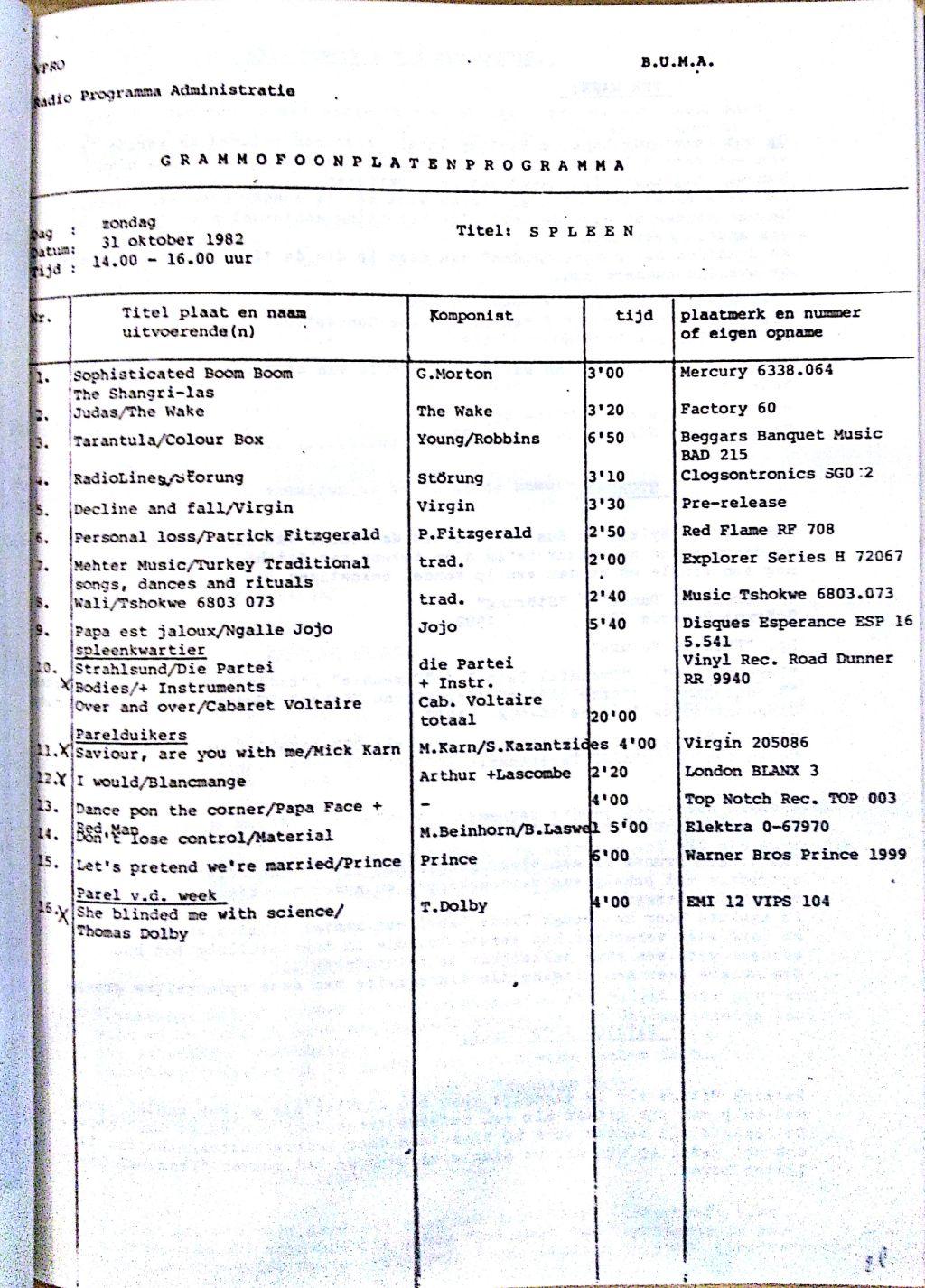 SPLEEN 31 Oktober 1982