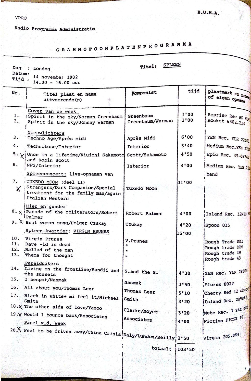 SPLEEN 14 November 1982