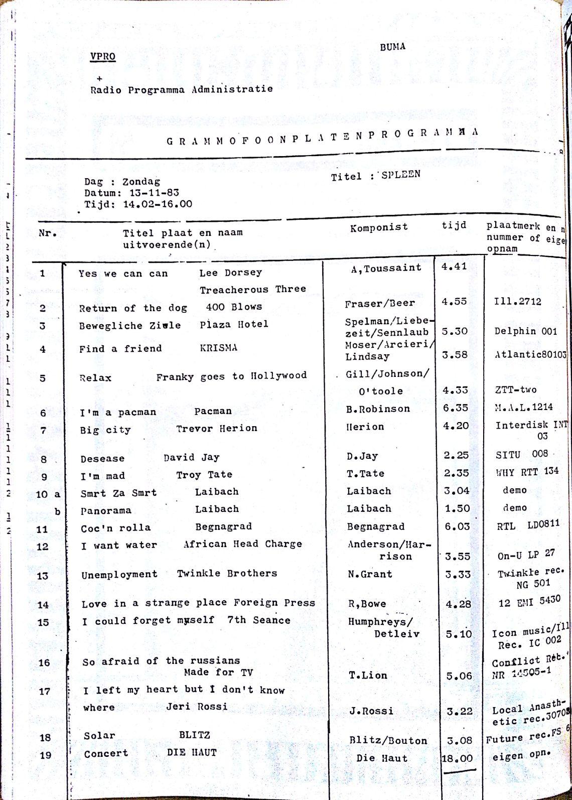 SPLEEN 13 nOVEMBER 1983
