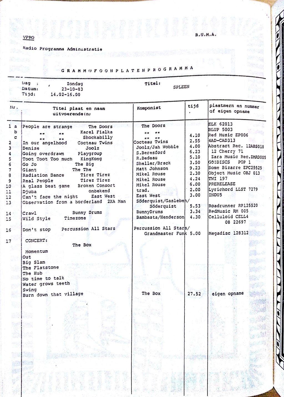 SPLEEN 23 oktober 1983