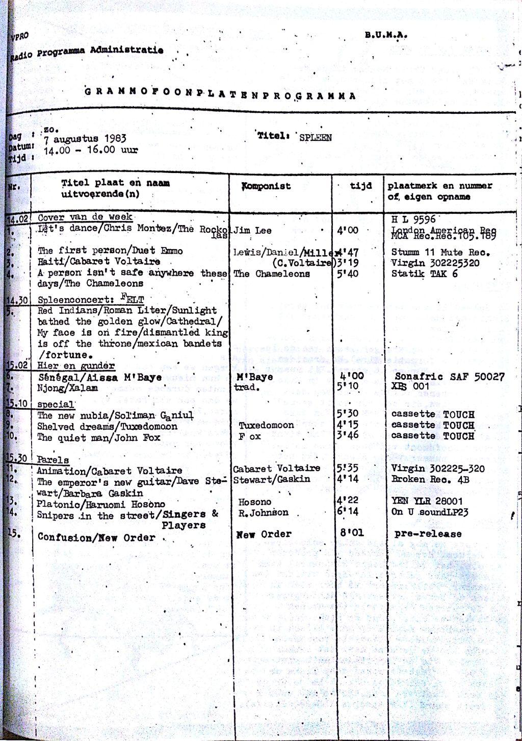 SPLEEN 7 Augustus 1983