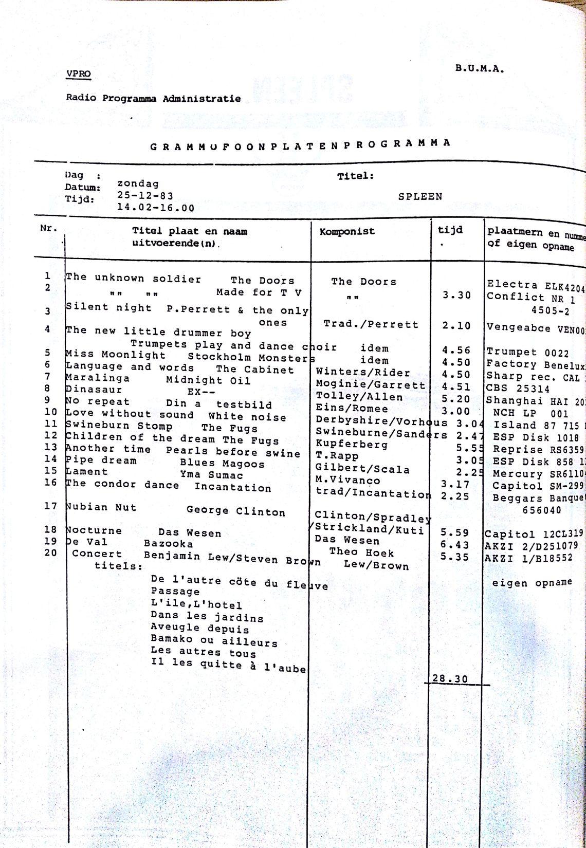 spleen 25 december 1983