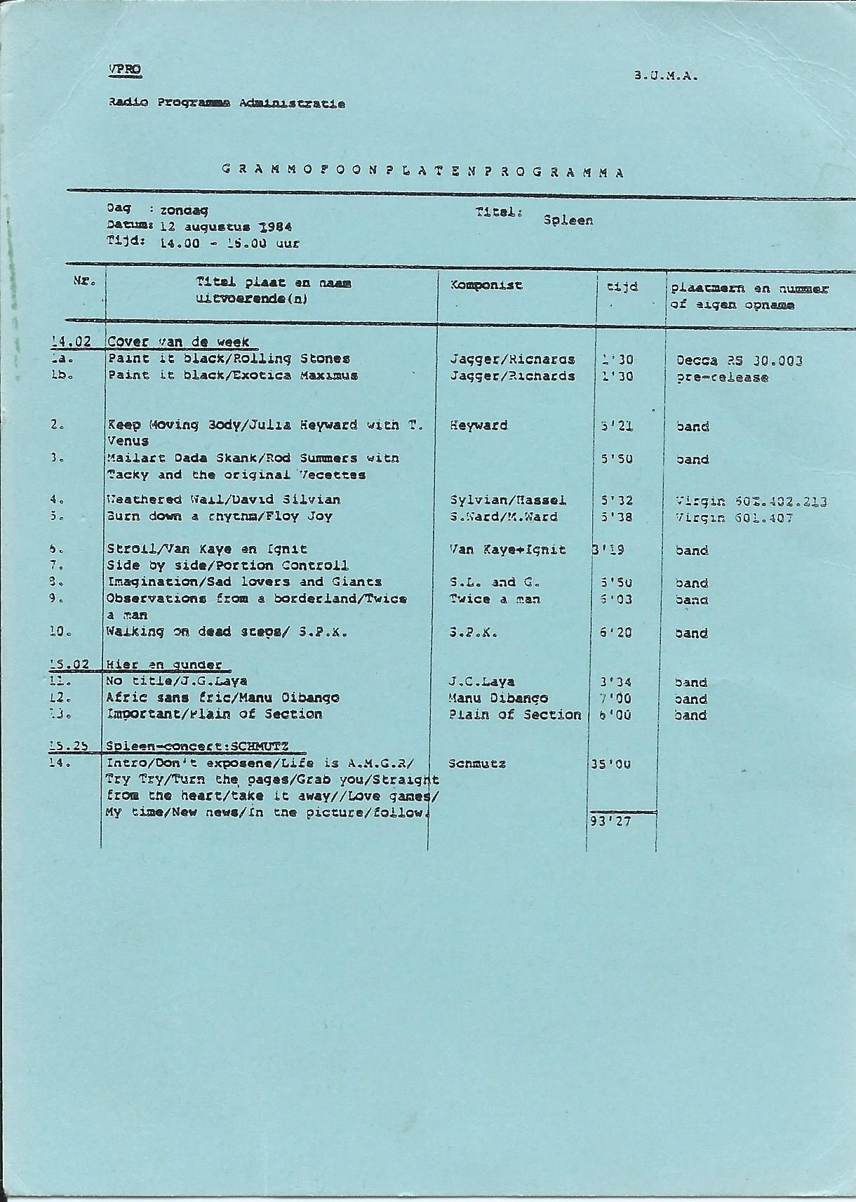 SPLEEN 12 augustus 1984 schmutz
